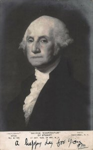 George Washington, by Gilbert Stuart, Postcard, Used in 1906, Pub. by Rotograph