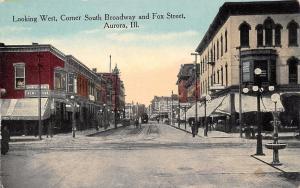Aurora IL~South Broadway & Fox Street~Corner News Stand~Drinking Fountain~1908