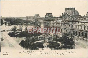 Old Postcard All Paris Panoramic view of the Tuileries and the Champs Elysees