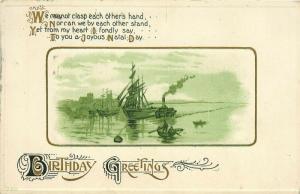 Boats at Dock Birthday Greetings pm 1924 Postcard