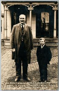 SEVILLE OH LARGEST & SMALLEST MEN 1908 ANTIQUE REAL PHOTO POSTCARD RPPC