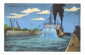 Paddle Steam Ship  WHITEHORSE , crossing locks, Peoria, Illinois, 30-40s
