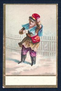 VICTORIAN TRADE CARD Boy in Snow w/Letter