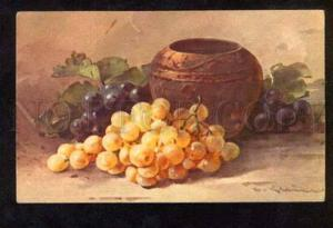 051753 Yellow GRAPES & Vase by C. KLEIN vintage PC