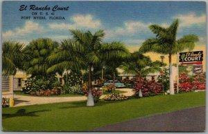 1954 Fort Myers, Florida Postcard EL RANCHO COURT Highway 41 Roadside Linen