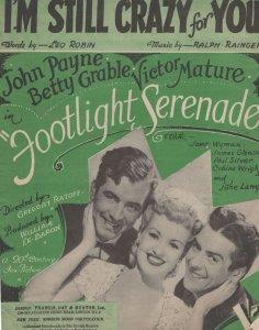 I'm Still Crazy For You John Payne 1940s Sheet Music