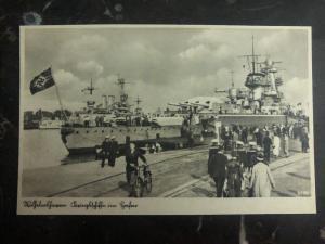 Mint Germany Real Picture Postcard wilhelmshaven Battleship in Port Kriegsmarine