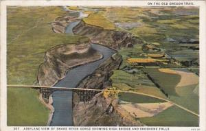 Oregon Airplane View Of Snake River Gorge Showing High Bridge and Shoshone Fa...