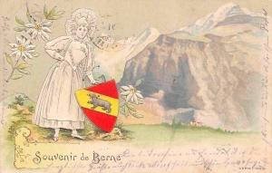 Schweiz Berne Bern Souvenir Woman Emblem Coat of Arms Edelweiss Embossed AK 1901