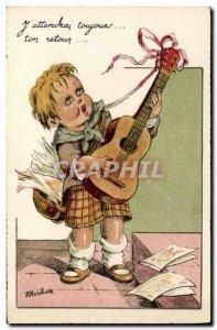 Old Postcard Fantasy Illustrator Child Guitar