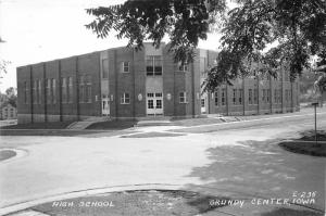 Grundy Center Iowa~High School Building View from Street Corner~1947 RPPC
