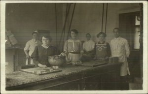 Cooking Baking Candy or Chocolate Bakers Kitchen Real Photo Postcard c1910