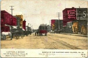 Vtg Carte Postale 1910s Bichromie Gartner & Bender Vendeur Échantillon Main