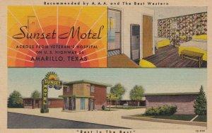 AMARILLO , Texas , 1930-40s ; RT 66 ; Sunset Motel