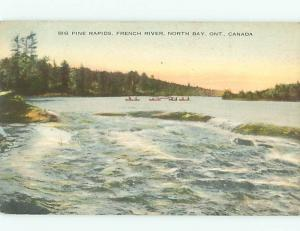 North Bay Ontario Canada Big Pine Rapids Canoe  Postcard # 5771