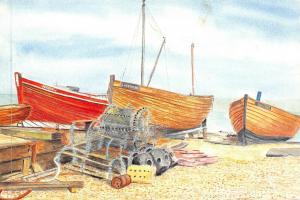 Art Postcard, Fishing Boats, Deal, Kent by John C. Burrows 64Q