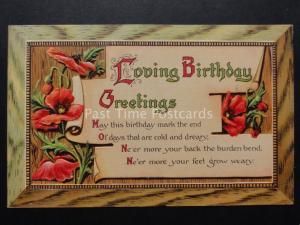 Embossed Poppies, Old Postcard: LOVING BIRTHDAY GREETINGS by P.F.B Series 9677
