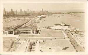 RPPC ZEPPELIN, AIRSHIP, BLIMP, Chicago, IL, 1950's, Museum, Shadow of Balloon