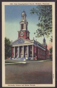 First Congregational Church,Madison,WI Postcard