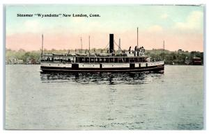 Early 1900s SS Wyandotte Steamer, New London, CT Postcard