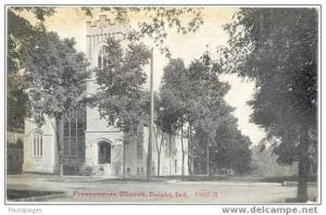 Presbyterian Church, Delphi, Indiana, IN, 1914 Divided back