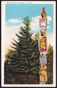 Raven Totem Pole Wrangell Alaska unused c1920's