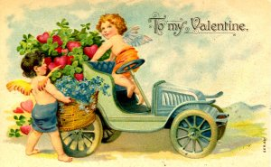 Greeting - Valentine's Day. Cupid with Auto Full of Hearts