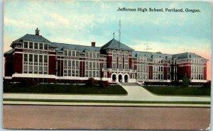 Portland, Oregon Postcard JEFFERSON HIGH SCHOOL Building Street View 1917 Cancel