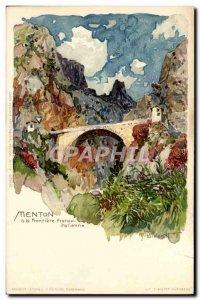 Old Postcard Illustrator Menton Italian border