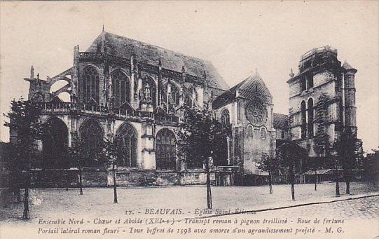 Ensemble Nord, Portail Lateral Roman Fleuri, Eglise Saint-Etienne, Beauvais, ...