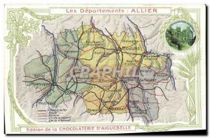 Old Postcard geographical maps of Allier Chocolaterie & # 39Aiguebelle