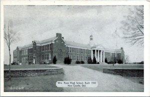 1940s New Castle DE William Penn High School Postcard DO