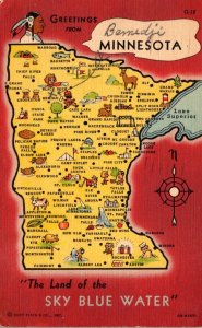 Minnesota Greetings With Map From The Land Of The Sky Blue Water 1949 Curteich