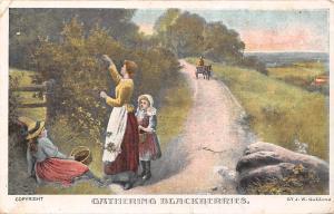 Gathering Blackberries, by W. Gozzard Artist Signed 1907