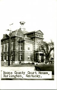 Vtg 1950s Kodak RPPC Boone County Court House Burlington KY Street View w Cars