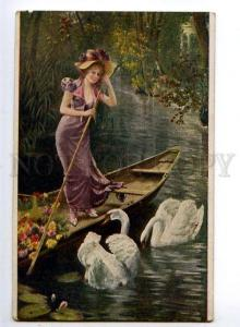 132029 Lady as LEDA w/ SWANS by KOCH vintage Russian PC