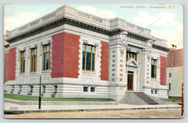 Greenpoint New York~Carnegie Public Library~Stones Throw From My House~1909 PC