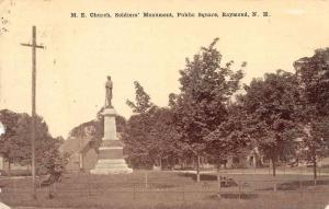 Raymond New Hampshire Soldier's Monument and ME Church Vintage Postcard JD933696