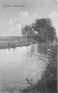Albion Michigan~Mill Race Stream~Wooden Farm Fence & Field in Background~1909