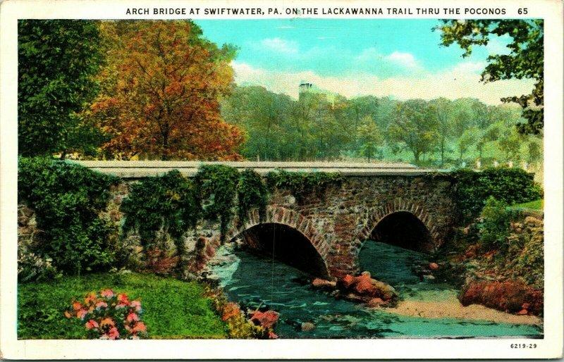 Vtg Postcard Swiftwater PA Pennsylvania Along The Lackawanna Trail Arch Bridge