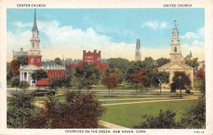 New Haven Connecticut~Center Church~United Church~On the Green~1929 Postcard