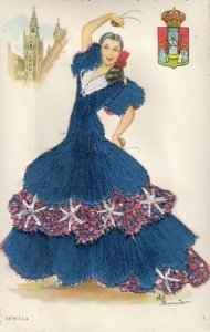 AS: SEVILLA, Spain, 1950-60s; Embroidered, Dancing Woman, Coat of Arms
