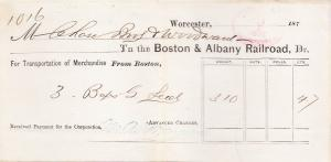 Boston & Albany RR. Receipt 1875  Newton