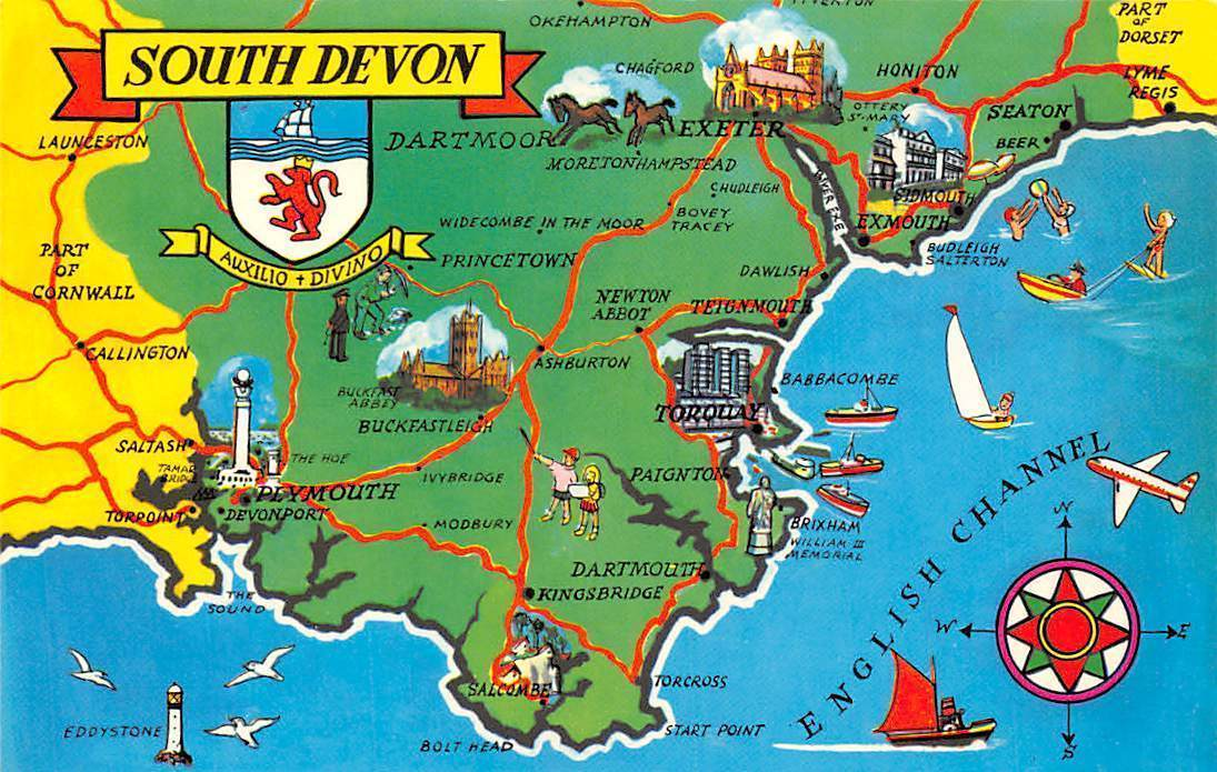 South Devon England Map.England South Devon Map Auxilio Divino Coat Of Arms Plymouth