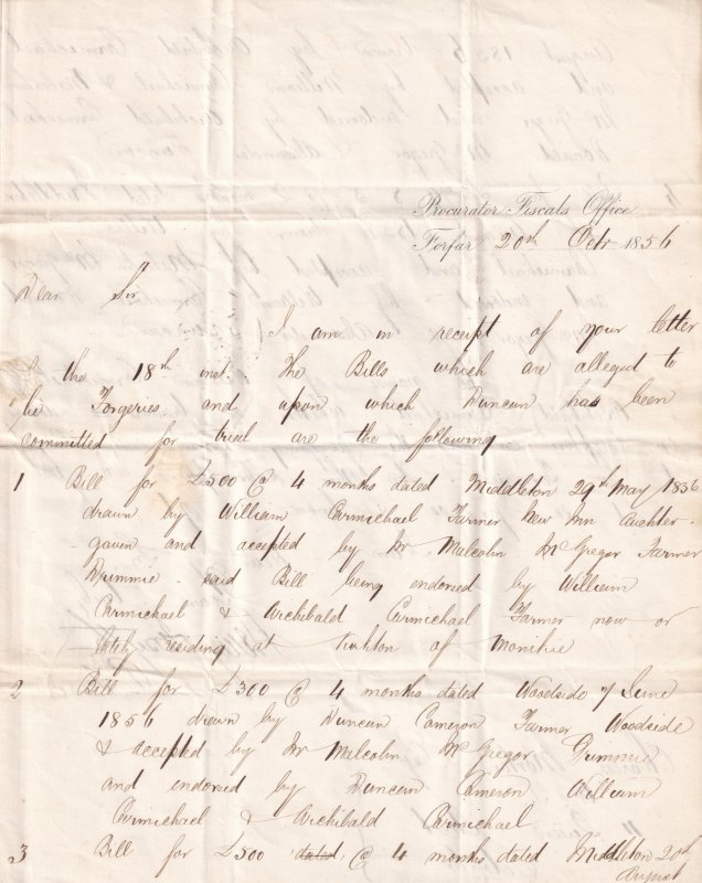 1856 Victorian Scotland Scottish Bank Note Crime Forgery Penny Red Stamp Letter