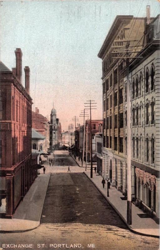 PORTLAND MAINE EXCHANGE STREET~LEIGHTON #10072 PUBLISHED POSTCARD