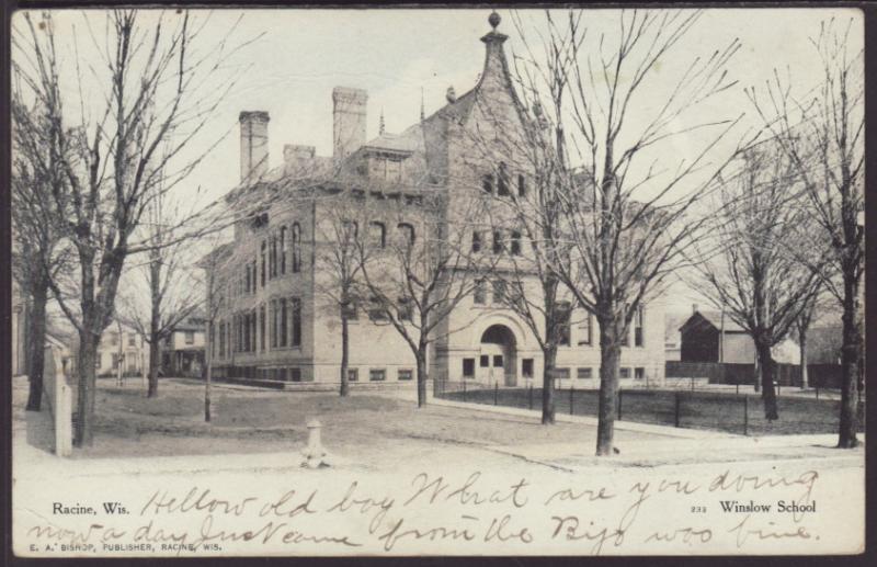 Winslow School,Racine,WI Postcard
