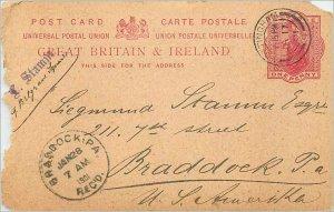 Entier Postal Stationery 1p Nottingham in 1901 for Braddock