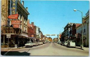 Bardstown, Kentucky Postcard Downtown Street Scene 1960 Kennedy-Johnson Banner