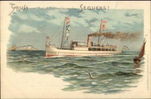 German Steamship Gruss Vom Salon-Schnelldampfer SEQUENS c1900 Postcard jrf